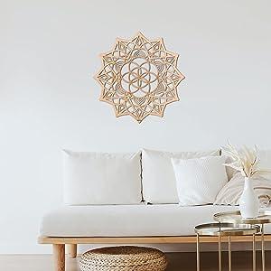 Qallicon 11.5'' Mandala Wall Decor Sacred Geometry Wall Art, Crystal Grid Chakra Wooden Wall Art Yoga Wall Art Decor Meditation Altar Decor Zen Wall Decor Spiritual Gifts