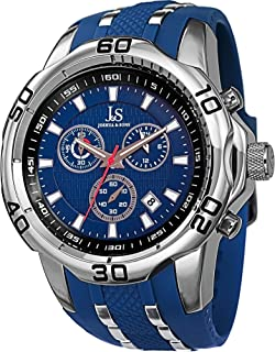 Joshua & Sons Men's Rugged Power Chronograph Watch With Blue Dial, Silver-Tone Case and Silicone Strap Js50Bu, Blue Band, ...