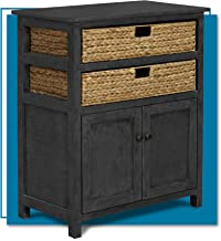 ClickDecor Nelson Storage Chest Cabinet with 2 Wicker Baskets, Kitchen, Living Room and Entryway Rustic Cottage Farmhouse ...