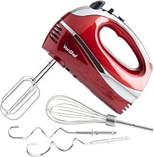 VonShef Electric Hand Mixer Whisk With Stainless Steel Attachments, 5-Speed and Turbo Button, Includes; Beaters, Dough Hooks and Balloon Whisk - Red