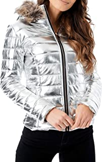 FASHIONGYAL UK D77 Womens Ladies Quilted Puffer Wet Look Black Shiny PU PVC Padded Jacket Fur Hooded
