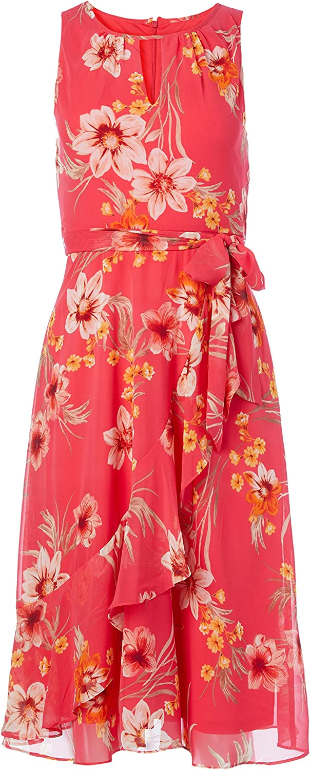 Jessica Howard Women's Sleeveless Keyhole Neck Fit and Flare Dress with Ruffle Faux Wrap Skirt