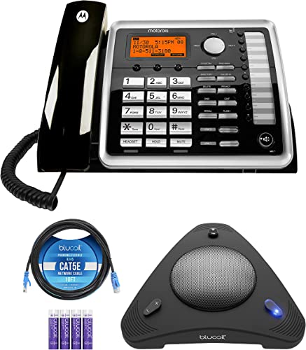 high quality Motorola ML25260 online sale DECT 6.0 Expandable Corded 2-line Business Phone with Caller ID, Black, Accessory Unit Bundle popular with Blucoil 4 AAA Batteries, 10' Cat5e Cable, and USB Conference Speakerphone sale