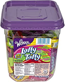 Nestlé 48749 Wonka Assorted Flavor Laffy Taffy, 3.08lb, 145 Wrapped Pieces/Tub