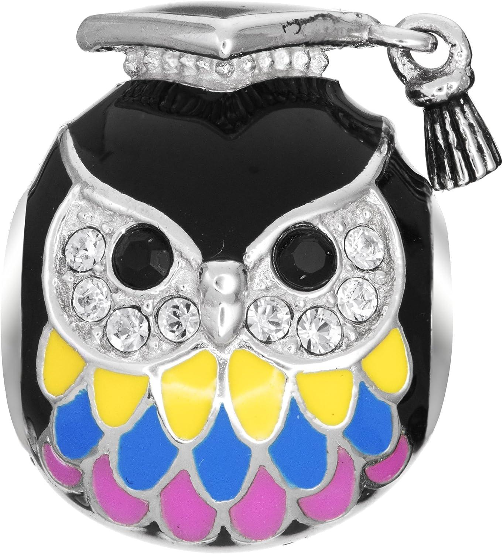 Qina Excellent C. Rhodium Sacramento Mall On 925 Sterling European Teacher Owl Silver Styl