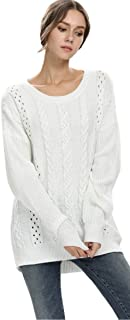 Alinfu Women's Casual Unbalanced Crew Neck Knit Sweater Loose Pullover Cardigan