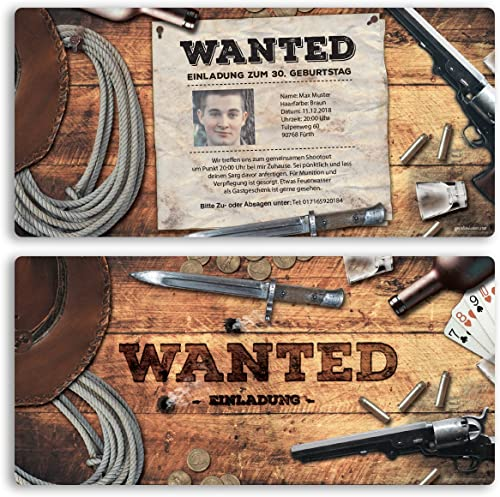 (80 x) Einladungskarten Geburtstag Wanted Western Kopfgeld Einschulung Einladungen