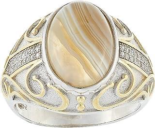 Aurora Men's Silver Aqeeq Sand Ring