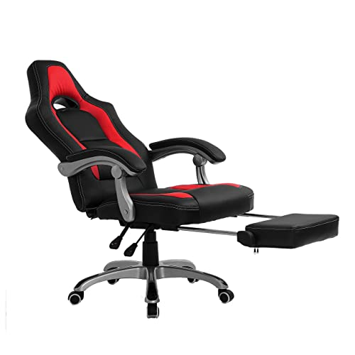 Attirant CTF Racing Sport Reclining High Back Swivel Chair With Foot Stool