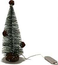 CVHOMEDECO. Tabletop Mini Artificial Christmas Tree with Rusty Bells and Warm White LED Lights for Christmas Ornaments and...