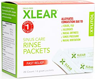 Xlear Natural Neti Pot Sinus Rinse Refill Packets, 20 Packets (2 Pack)