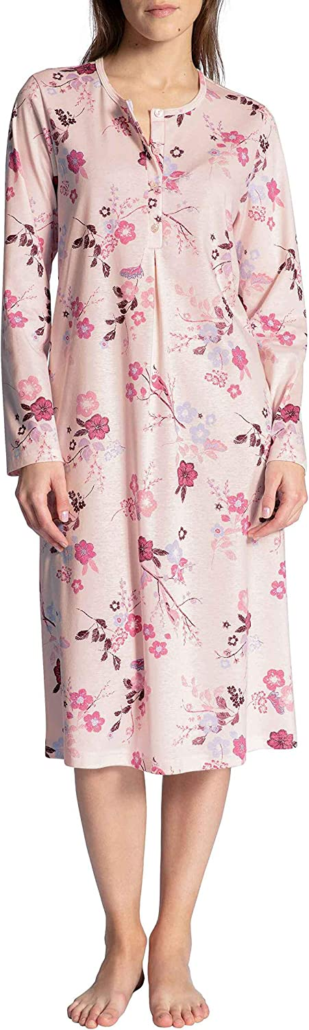 Calida Long Sleeve Cotton Cosy Nights Knit Nightgown in Pink Cha