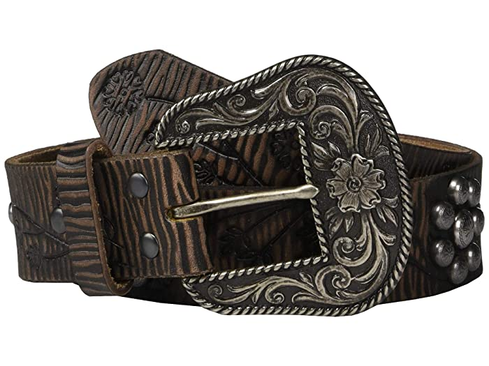 Ariat Floral Embossing Nailheads Belt (Brown) Women