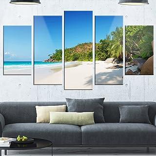 Designart Anse Georgette Beach Light Blue-Large Seascape Glossy Metal Wall Art, 60x32-5 Panels Diamond Shape