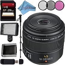 Panasonic Leica DG Macro-Elmarit 45mm f/2.8 ASPH. MEGA O.I.S. Lens + 256GB SDXC Card + 46mm 3 Piece Filter Kit + Deluxe 70