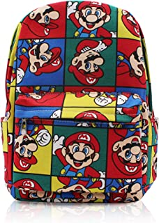 Finex Multicolored Super Mario Brother Bros Canvas Backpack with Laptop Storage Compartment for School College Daypack Causal Travel Bag