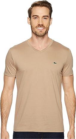 Lacoste - Short Sleeve V-Neck Pima Jersey Tee