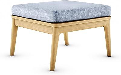 International Home Miami ia Denton Patio Ottoman Durable Outdoor and Indoor Furniture Made of Grade A Teak Olefin Cushion