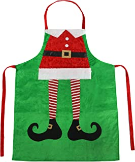 Athoinsu Christmas Apron Classic Elf Leg Design Xmas Holiday Costume Party Supplies Gifts for Girls Men Women Good for Cooking Gardening, Green, 23''40''