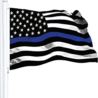 Best G128 - Thin Blue Line Flag 3x5 FT Embroidered Heavy Duty 220GSM Tough Spun Polyester U.S. American Flag Brass Grommets Honoring Men and Women of Law Enforcement Black White and Blue US Flag Review
