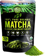 Matcha Organics Classic Matcha Green Tea Powder Extract - 100% Pure USDA Organic Culinary Grade - Bulk Starter Bag 16oz / 453g - Latte Mix, Smoothies, Baking Foods - FREE Top 100 Matcha Recipes Ebook