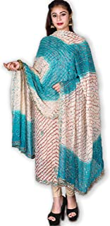 Kasturi-B Women's Beige & Sea Green Pure Georgette Bandhej Zardozi Work 3pc Suit