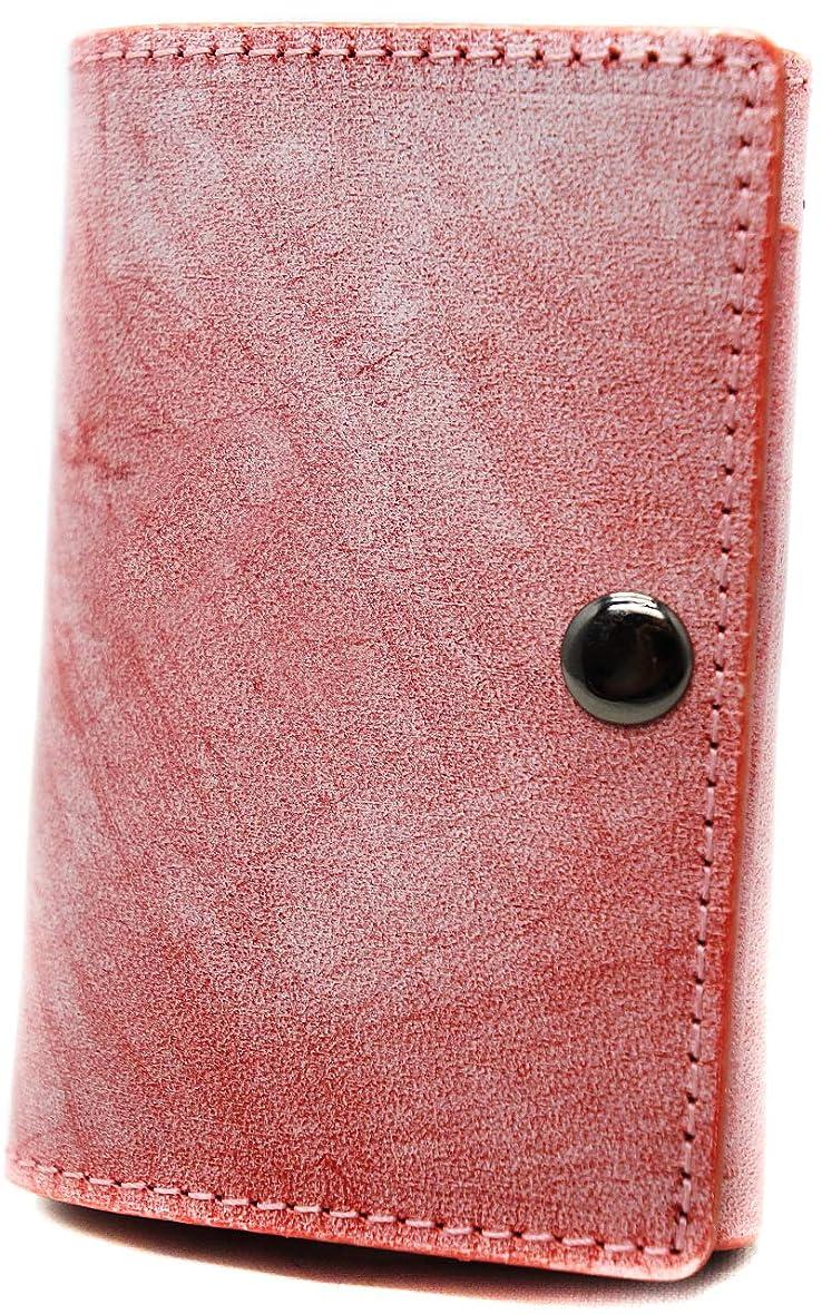 芸術キャッシュ師匠極上イタリア製ブライドルレザー 薄型 三つ折り財布 コンパクト本革 レッド ME0278_c4
