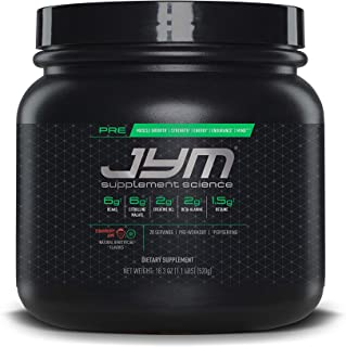 Pre JYM Pre Workout Powder - BCAAs, Creatine HCI, Citrulline Malate, Beta-Alanine, Betaine, and More | JYM Supplement Science | Strawberry Kiwi Flavor, 20 Servings