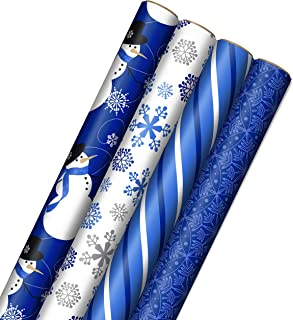 Image Arts Blue Christmas Wrapping Paper with Cut Lines on Reverse (4 Rolls: 120 sq. ft. ttl) Snowmen, Snowflakes, Blue an...