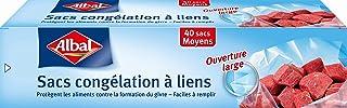 Albal 40 Sacs Congélation, Lien de Fermeture, Ouverture Large, Résistant, Moyen