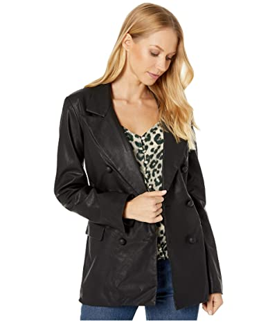 Blank NYC Vegan Leather Long Double Breasted Blazer in Carbon (Black) Women