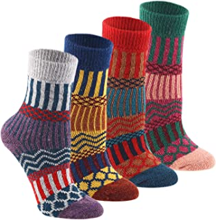 Wool Cozy Crazy Novelty Socks - KEAZA WZ02 Thick Cotton Warm Knitting Vintage BOHO Women Girl Sock for Winter Fall with Pa...
