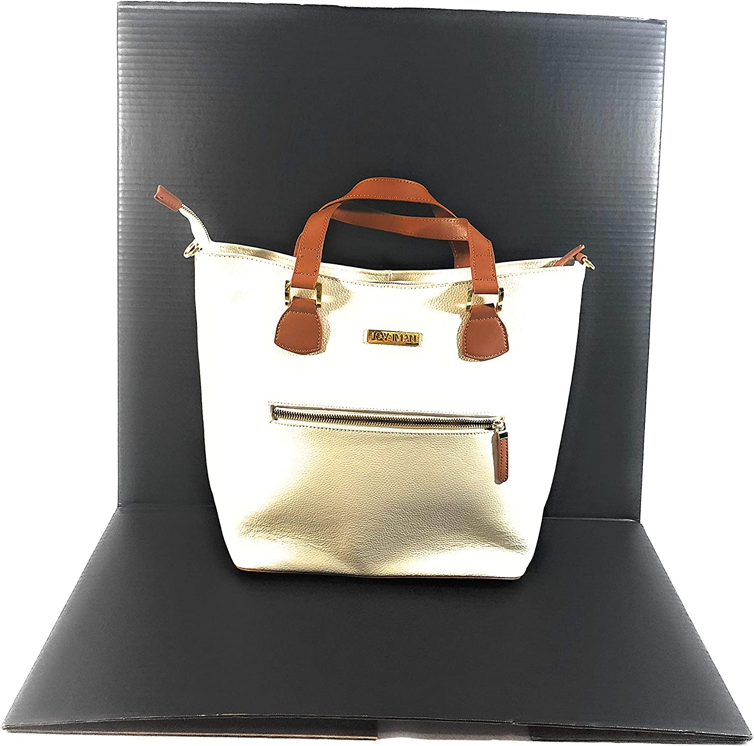 JOY & IMAN Alexandria Leather Tote  White