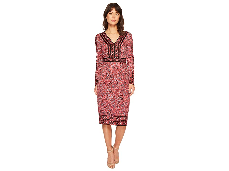 Maggy London Medallion Mosaic Textured Long Sleeve Sheath (Black/Coral) Women