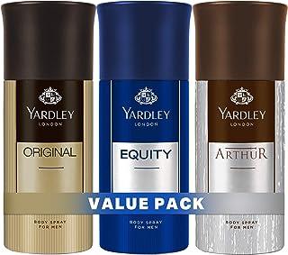 Yardley London Body Spray for Men, Modern masculine fragrance, all day freshness, Value pack 150 ml x 3 (Arthur, Original,...