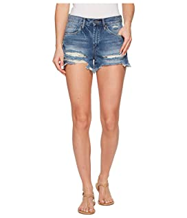 High-Rise Distressed Shorts in Poster Child