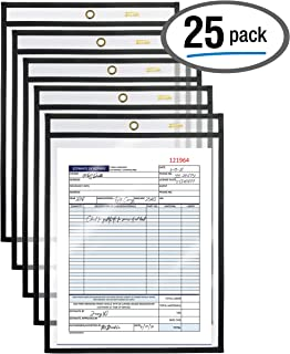Shop Ticket Holders, 9 x 12 Inches, Both Sides Clear, Stitched Black Edge Trim, by Better Office Products, 25 Pack