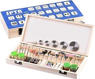 SPTA - Juego de accesorios para herramientas rotatorias Proxxon y Dremel, 242 piezas, para grabado, abrillantado, pulido de lija, limpieza, vástago de 3 mm