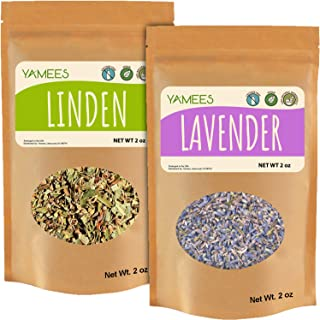 Yamees Linden Dried Leaves and Lavender Flowers - 4 Ounces (2 Ounce Each) - Bulk Tea - Natural Herbal Tea - Loose Tea