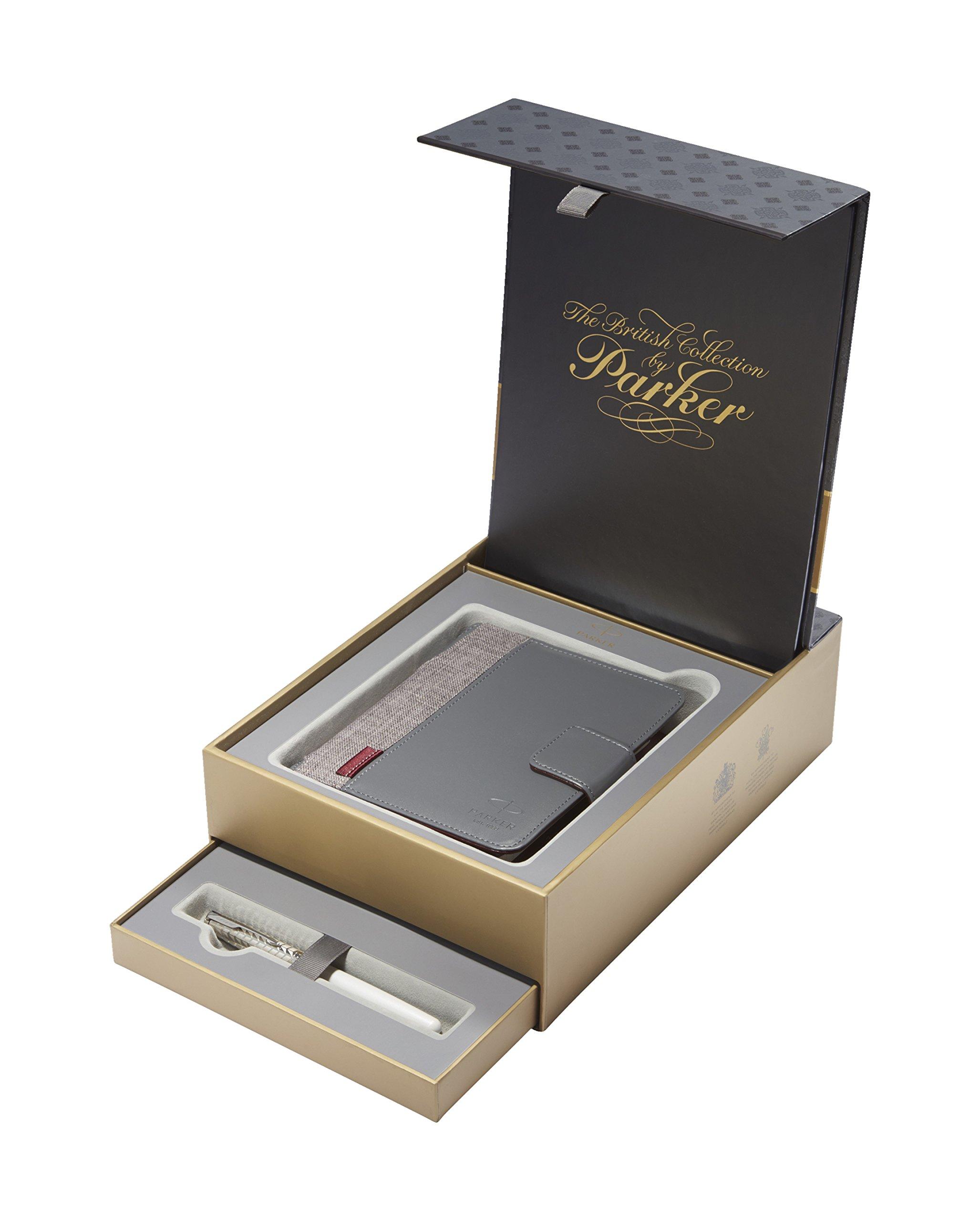 PARKER Sonnet estuche con pluma estilográfica y agenda de la colección British, lacado perlado y metalizado con adornos cromados (1978406): Amazon.es: Oficina y papelería