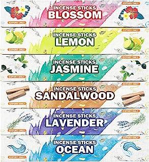 Premium Incense Sticks Variety Pack Sandalwood - Jasmine-Lemon-Ocean-Blossom-Lavender for Meditation, Purification, Yoga, ...