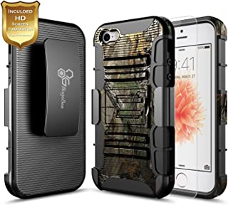 NageBee iPhone 5C Case with Screen Protector, Belt Clip Holster Case with Built-in Kickstand Full-Body Shockproof Armor Heavy Duty Protective Rugged Durable Case for iPhone 5C -Camo