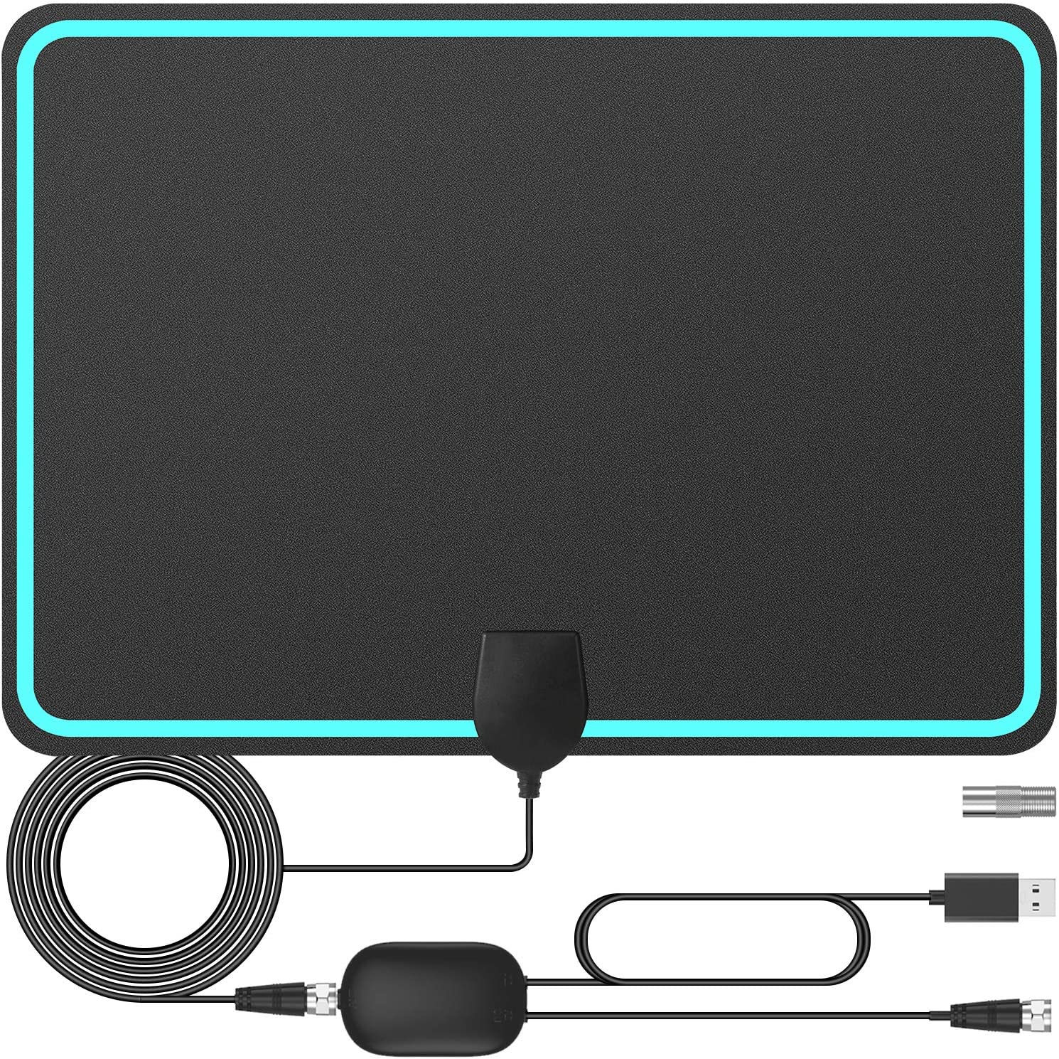 TV Antenna Digital HD Indoor, Ultra-Thin HDTV Antenna Freeview 150 Miles Range Support 4K 1080p HDTV and Smart TV, Signal Booster for 4K HD Local Channels 1080P VHF UHF - 16.5ft Coax Cable