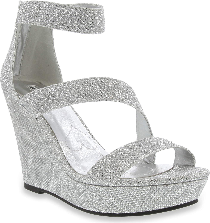 Rampage Women's Catia Platform Wedge Formal Dress Sandals