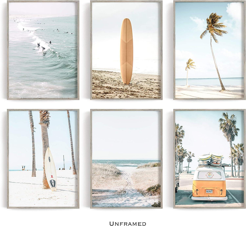 Ocean Wall Art San Diego Art Coastal Decor Palm Tree Art La Jolla California Photo Windansea Beach Set of 6 Beach Prints Sunset Photo