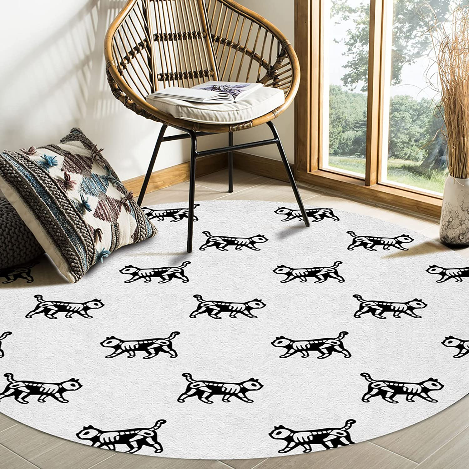 Olivefox Arlington Mall Round Area Rugs quality assurance Cat with White Skeleton Skull Super Sof