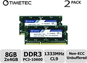 Timetec Hynix IC 8GB Kit (2x4GB) DDR3 1333MHz PC3-10600 Unbuffered Non-ECC 1.5V CL9 2Rx8 Dual Rank 204 Pin SODIMM Portatil Memoria Principal Module Upgrade (8GB Kit (2x4GB))