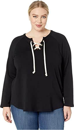 Plus Size Lace-Up Sweatshirt