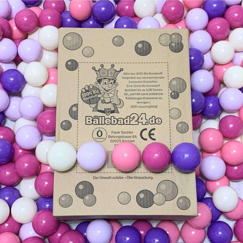 100 bolas de plástico orgánico para piscina de bolas de caña de azúcar renovable, materias primas, 6 cm de diámetro, guardería y calidad comercial – BB04