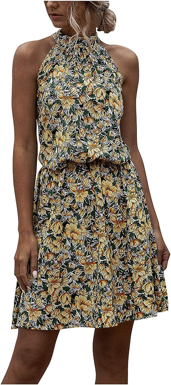 JPLZi Dresses Women,Women Dresses Summer,Women Summer Dot&Floral Print Boho Long Dress Evening Party Beach Dress Sundress